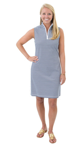Britt Sleeveless Dress - White/Navy Stripe FINAL SALE