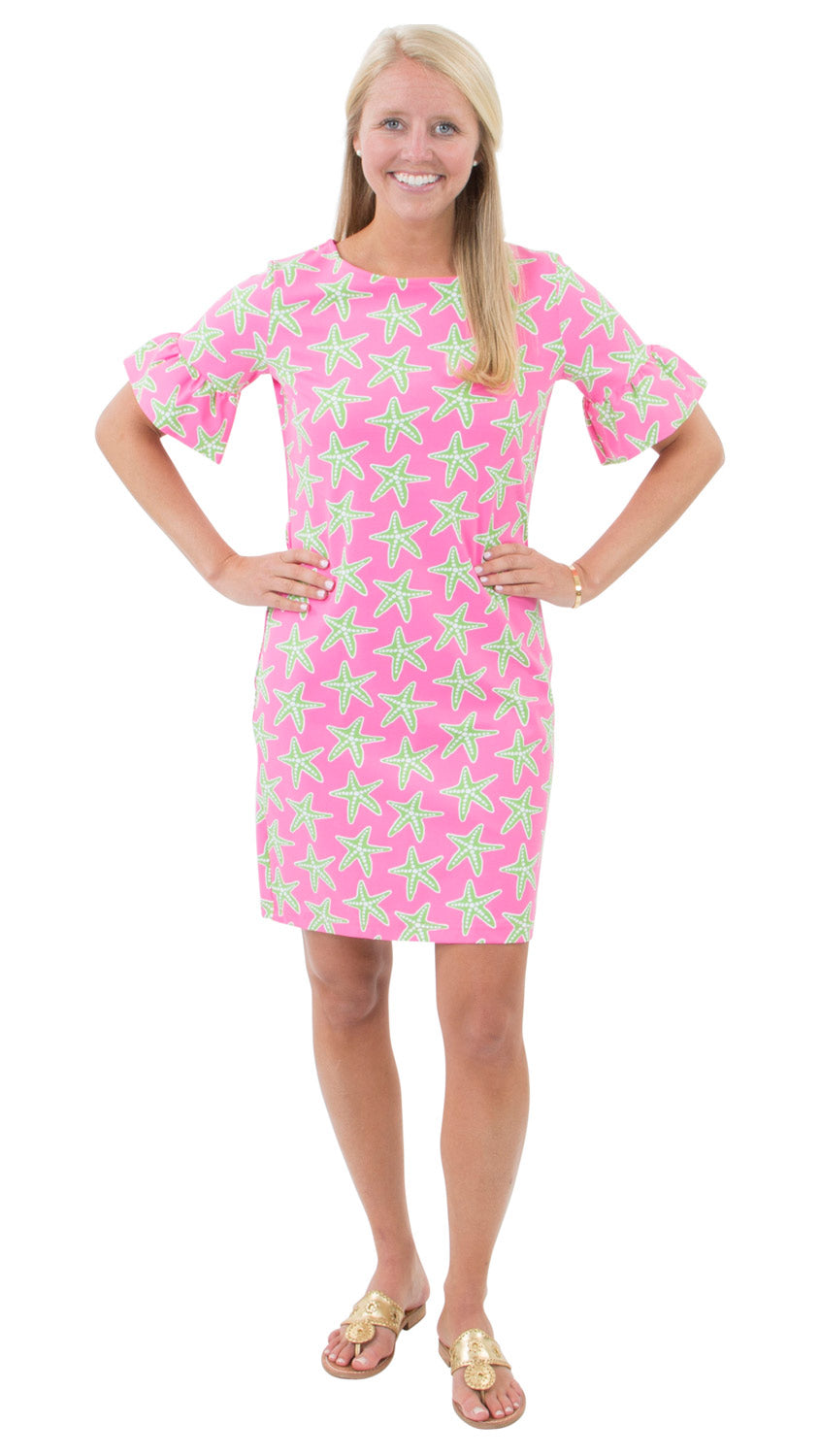 Dockside Dress - Sea Stars Pink/Green
