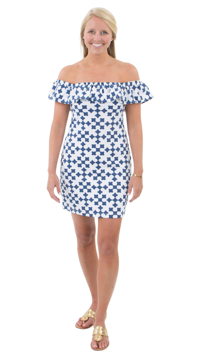 Shoreline Dress - White/Navy Gems