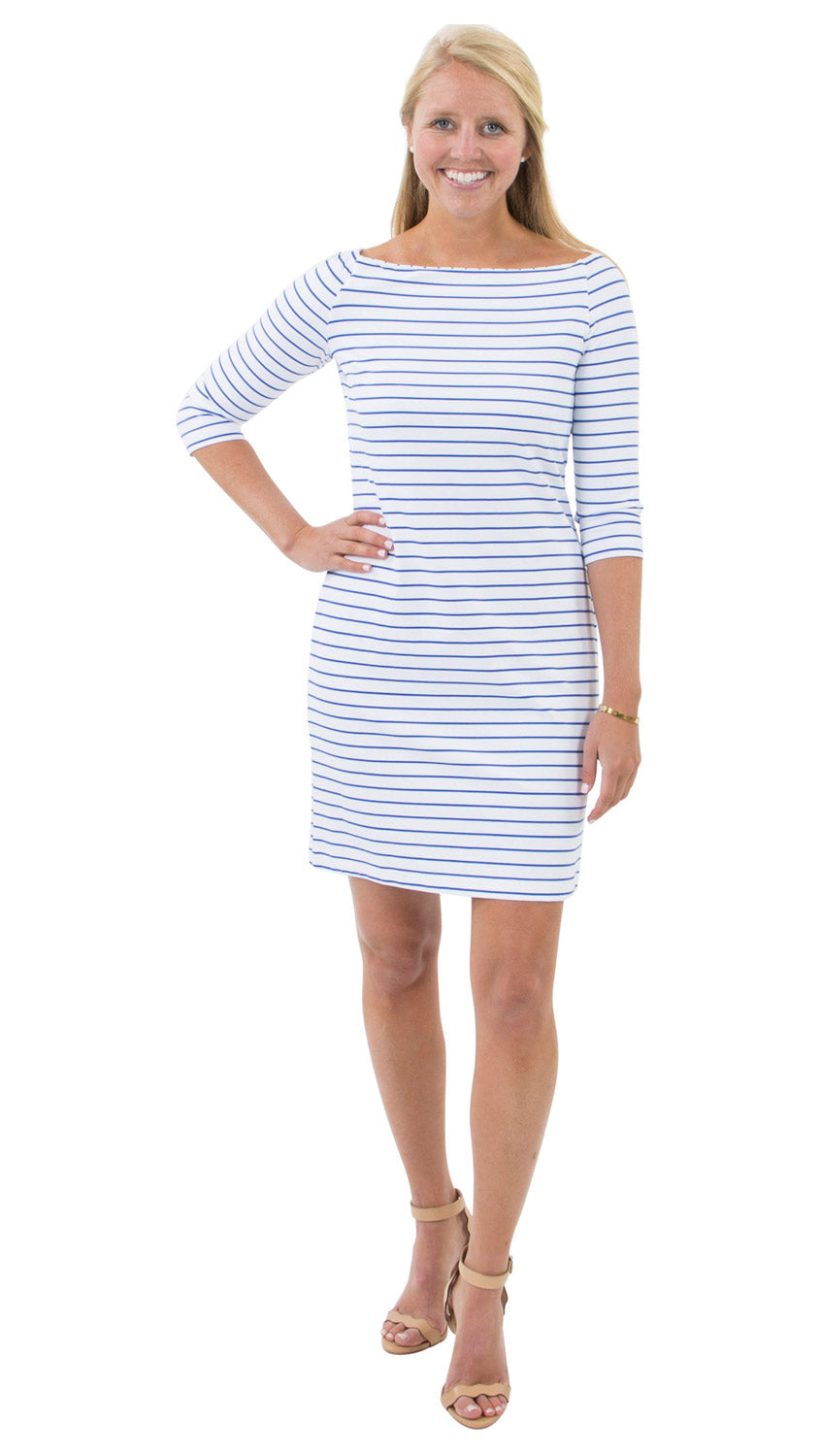 Islander Dress - Breton Stripes White/Royal