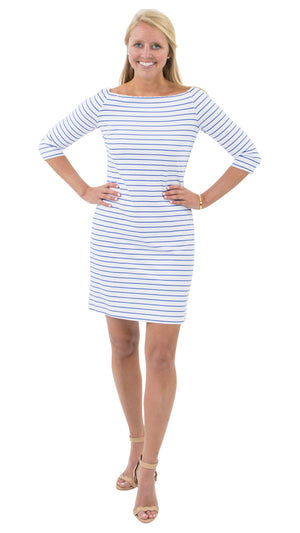 Islander Dress - Breton Stripes White/Royal - FINAL SALE