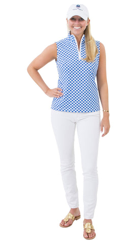 Britt Sleeveless Top - White/Royal Gingham- FINAL SALE