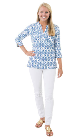 Meagan Tunic - White/Navy Rope Link-- FINAL SALE