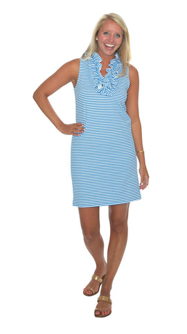 Skipper Dress - Azure Blue/White Stripes