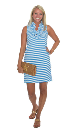 Skipper Dress - Azure/White Stripe