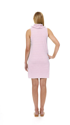 Skipper Dress - Cotton White/Pink Stripes