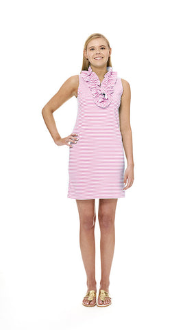 Skipper Dress - White / Pink Stripes-