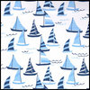 Seaport Shift 3/4 Sleeve - Sailboats Faded Blue- Final Sale