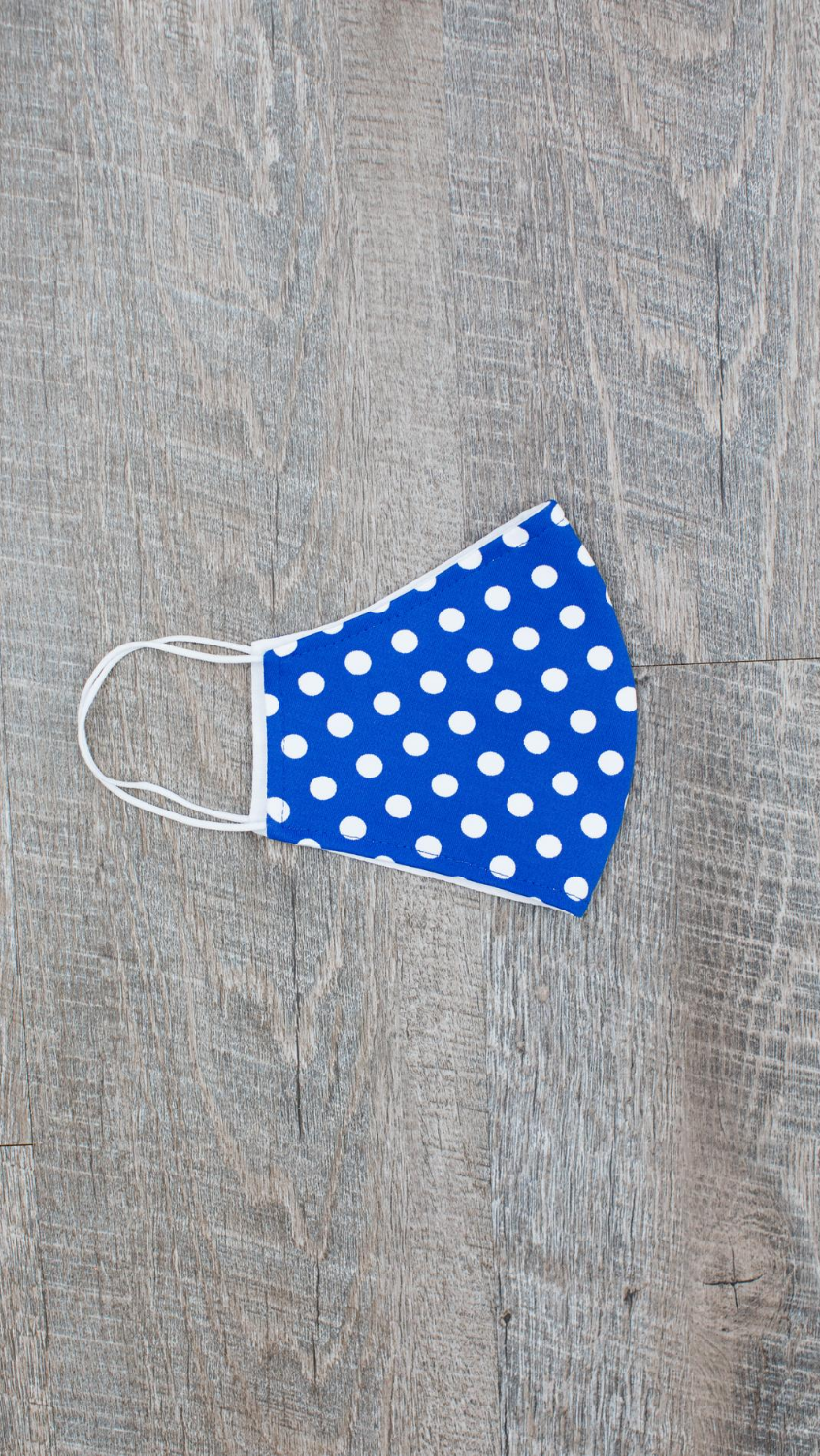 Face Mask - Tiny Dot White/Dazzling Blue - FINAL SALE