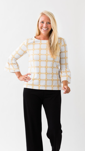 Haley Top - White/Gold Autumn Chain