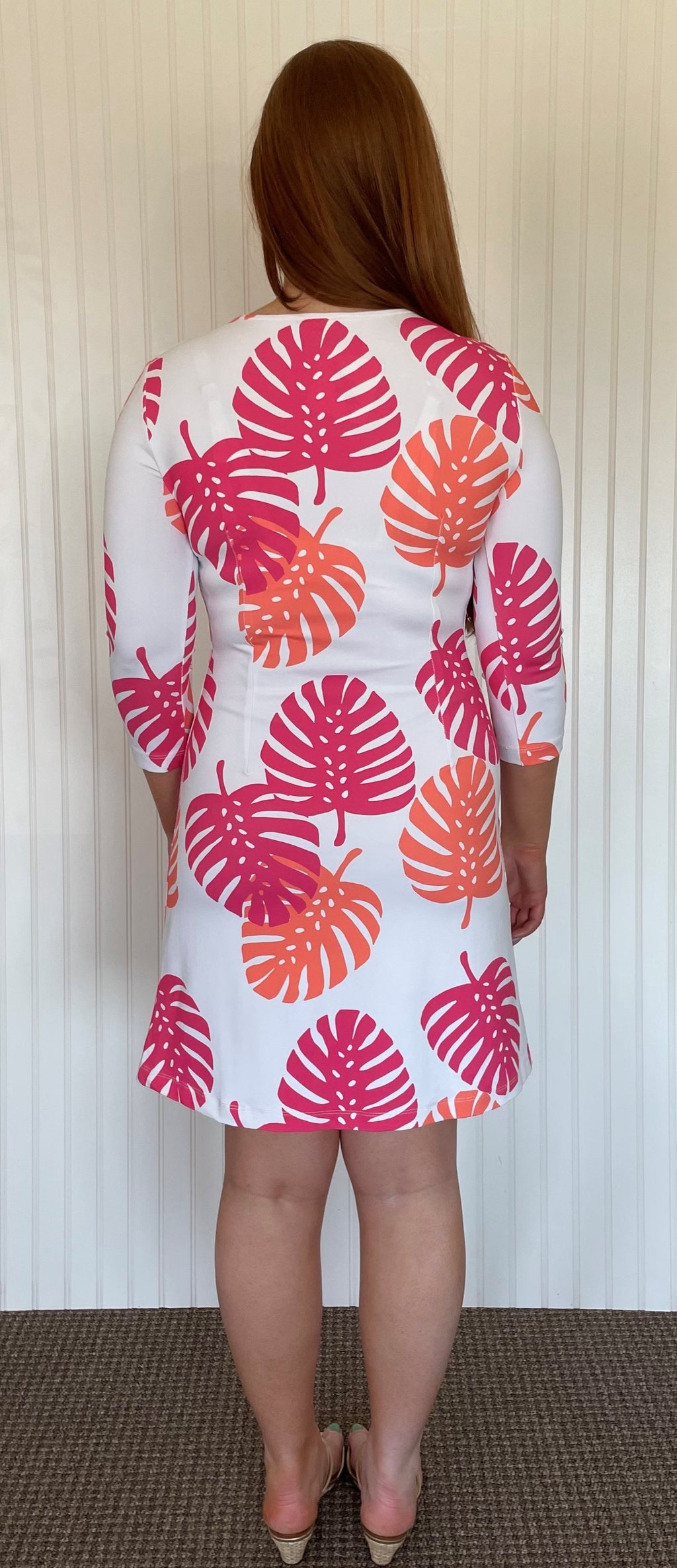 Grace Dress - Hot Pink/Salmon Dancing Palms - SAMPLE FINAL SALE