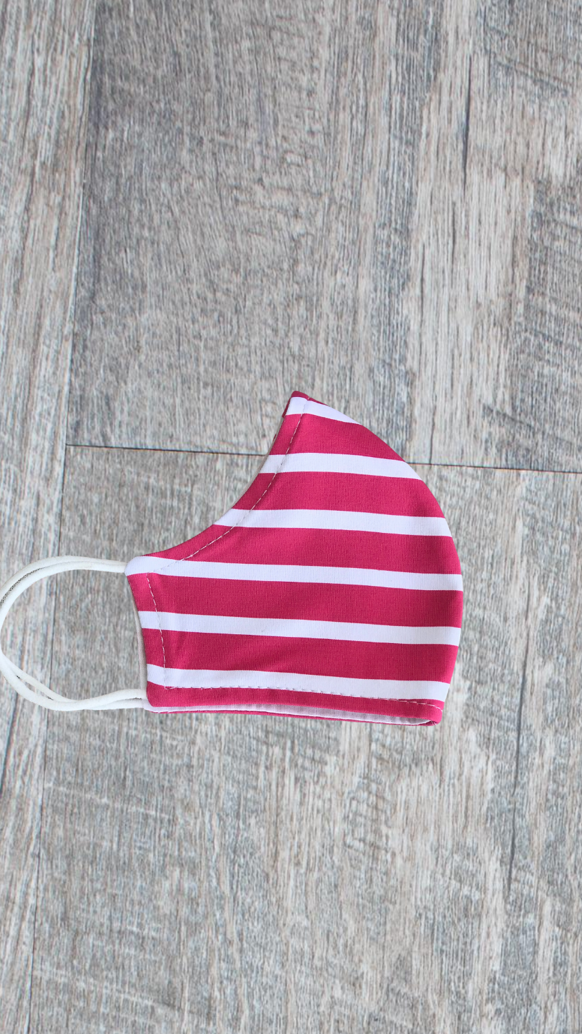 Kids Face Mask - Hot Pink Summer Stripe - FINAL SALE
