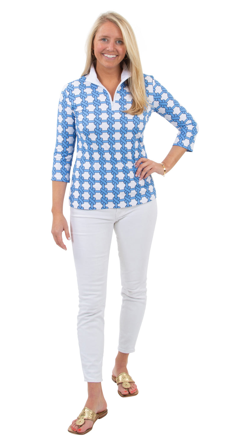 Britt Top 3/4 Sleeve - Summer Knot Azure/White