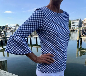 Haley Top - White/Navy Gingham