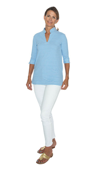 Seaport Tunic 3/4 Sleeve - Azure Blue/White Stripes