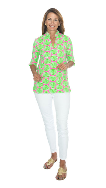 Seaport Tunic 3/4 Sleeve - Scallop Shell Pink/Lime - Final Sale