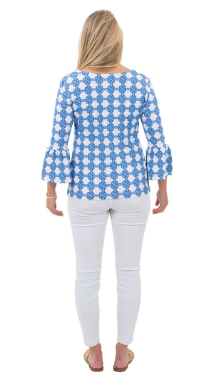 Haley Top - Summer Knot Azure/White