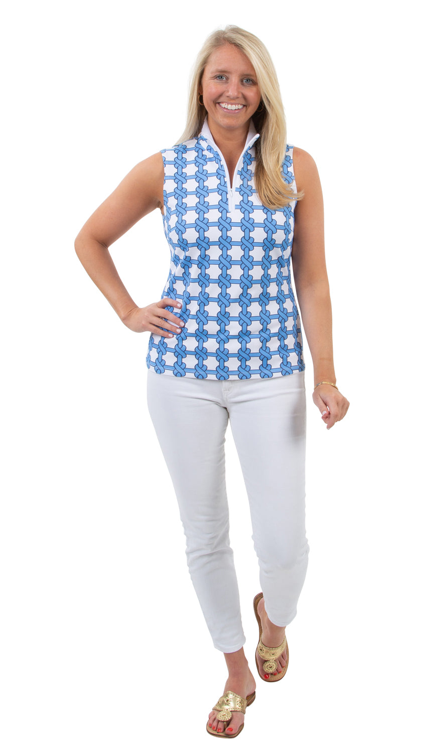 Britt Sleeveless Top - Summer Knot Azure/White