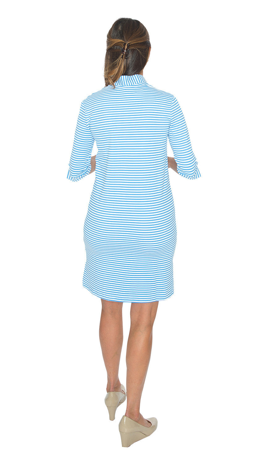 Seaport Shift 3/4 Sleeve - Azure/White Stripe