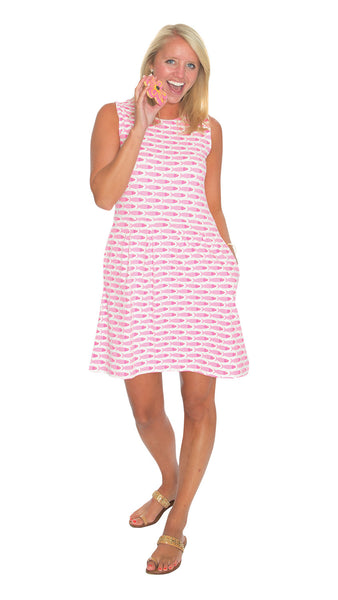 Boardwalk Dress - Fish Pink/Lime - Final Sale