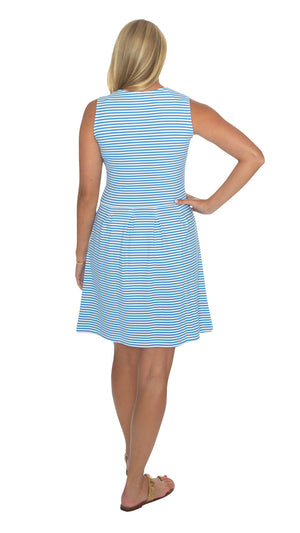 Boardwalk Dress - Azure/White Stripe