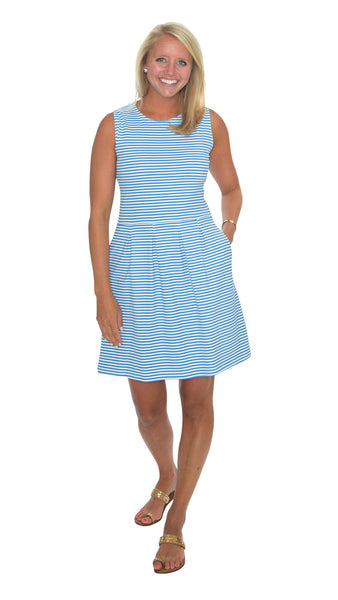 Boardwalk Dress - Azure Blue/White Stripes