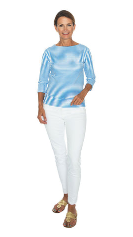 Cruiser Tee 3/4 Sleeve - Azure Blue/White Stripes