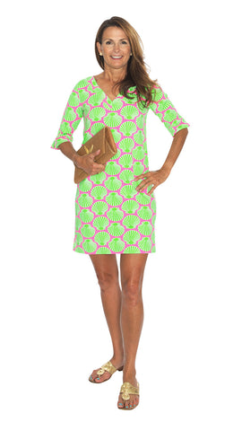 Catalina Dress - Scallop Shell Pink/Lime Final Sale