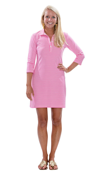 Port Dress - White/Pink Stripes