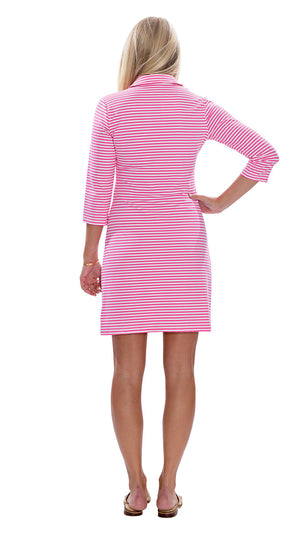 Port Dress - Pink/White Stripe