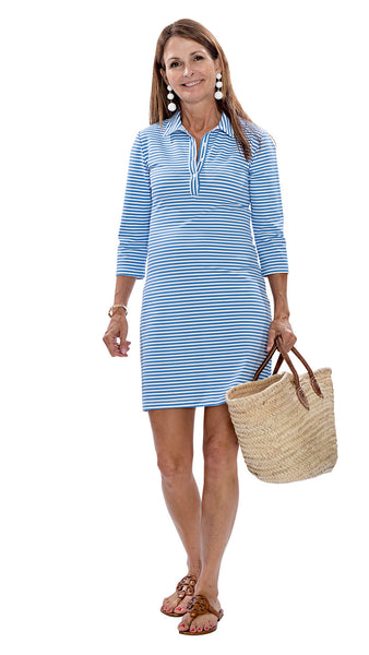 Port Dress - White/Azure Blue Stripes