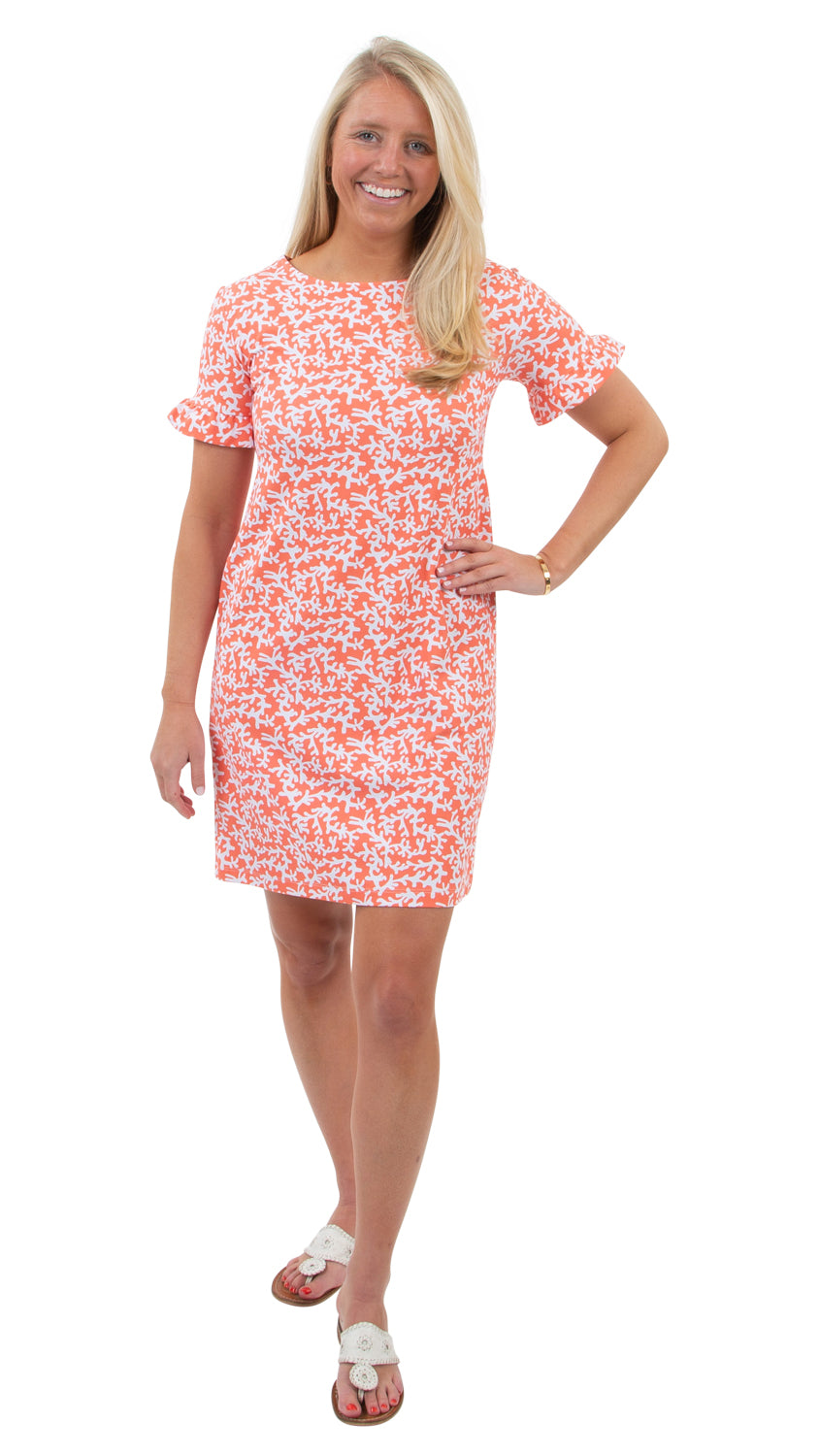 Dockside Dress - Coral Tiny Coral