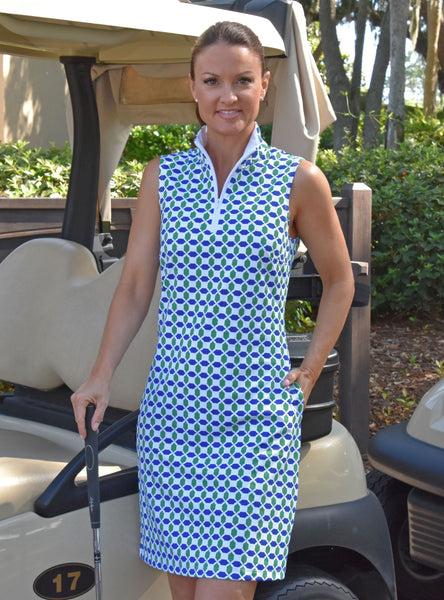 Britt Dress - Geo Green/Navy - FINAL SALE