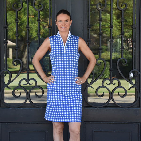 Britt Dress - Picnic Check Navy/White - FINAL SALE