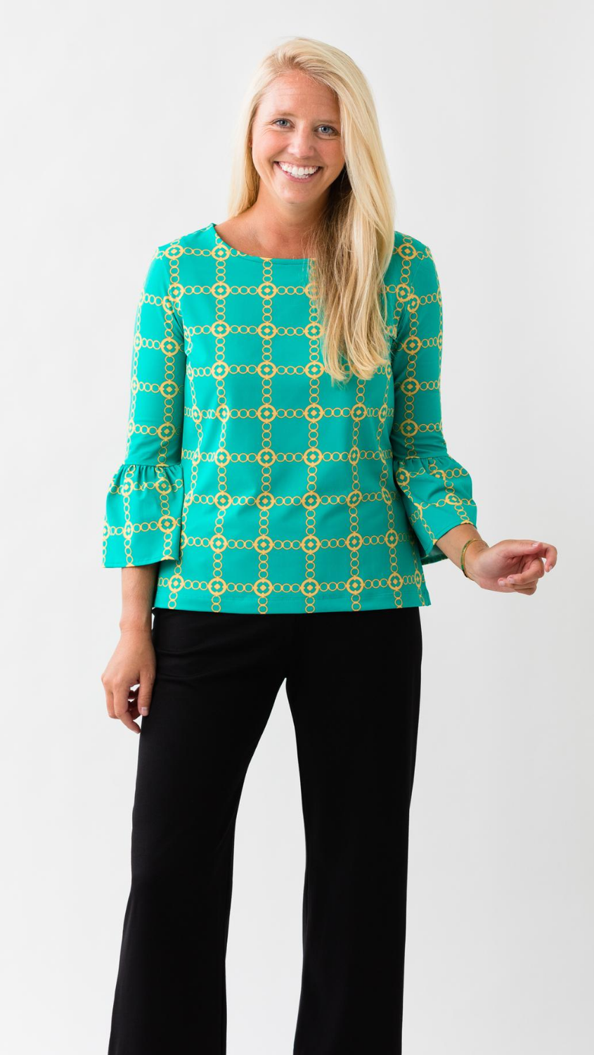 Haley Top - Green/Gold Autumn Chain