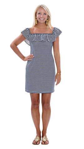 Shoreline Dress - Navy blue/White