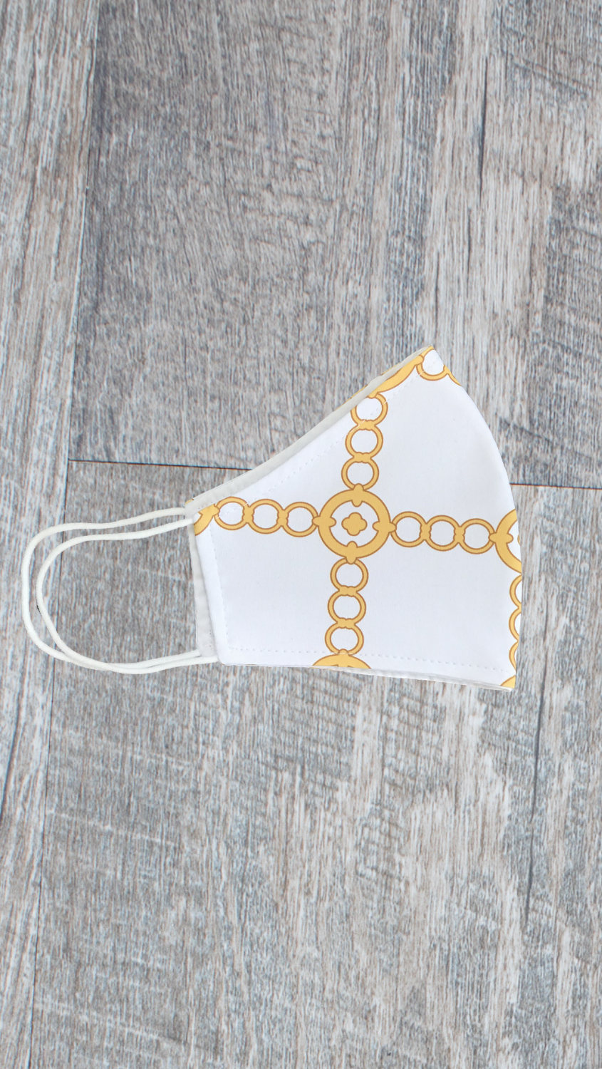 Face Mask -White/Gold Autumn Chain - FINAL SALE