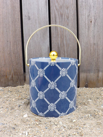 Ice Bucket - Knotted Rope Ball Navy/White