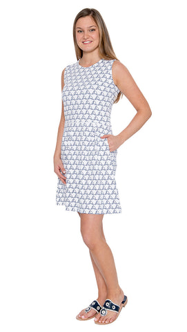 Boardwalk Dress - Sailboat Doodle- Final Sale
