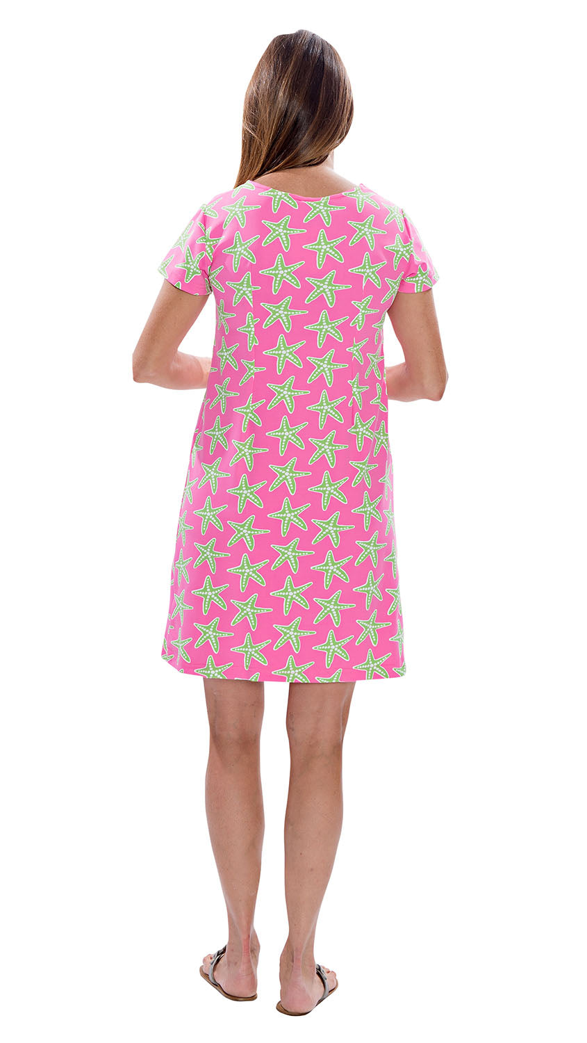 Marina Dress - Sea Stars Pink/Green