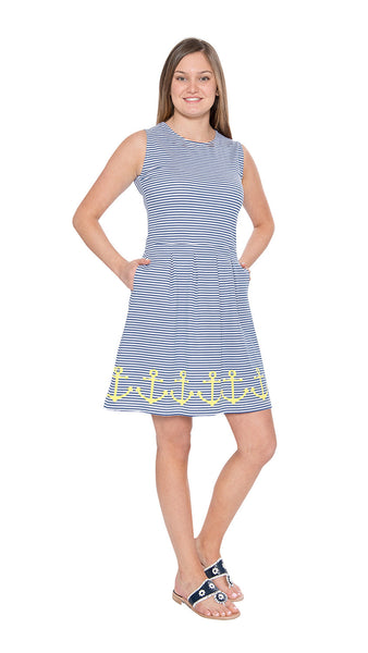 Boardwalk Dress - Anchor Hem Navy/Yellow