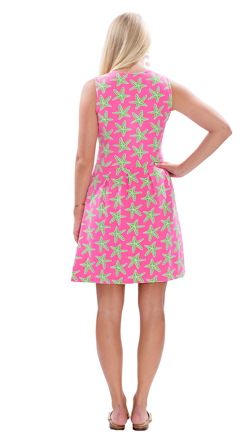 Boardwalk Dress - Sea Stars Pink/Green