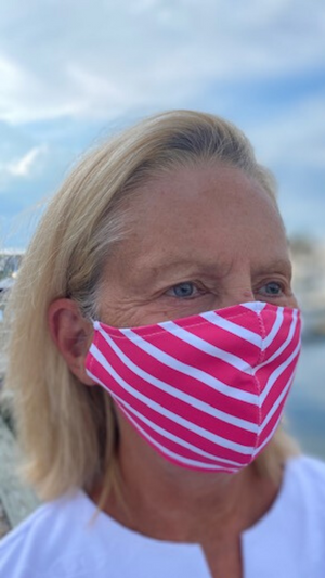 Face Mask - Hot Pink Summer Stripe- FINAL SALE