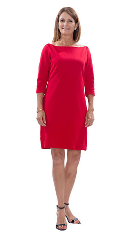 Islander Dress - Red PONTE KNIT