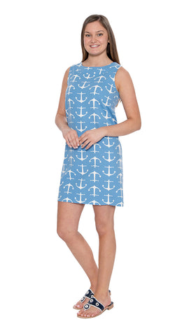 Yacht Club Shift - Large Anchor Blue/White - Final Sale