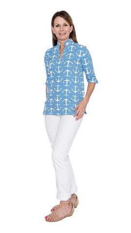 Seaport Tunic - Large Anchor Blue/White - Final Sale