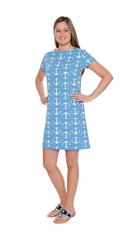 Marina Dress - Large Anchor Blue/White- Final Sale