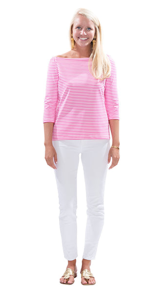 Islander Top - White/Pink Stripes
