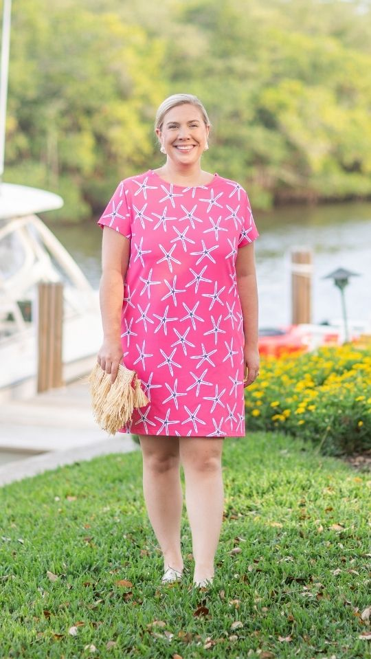 Marina Dress - Stick Starfish Hot Pink/White