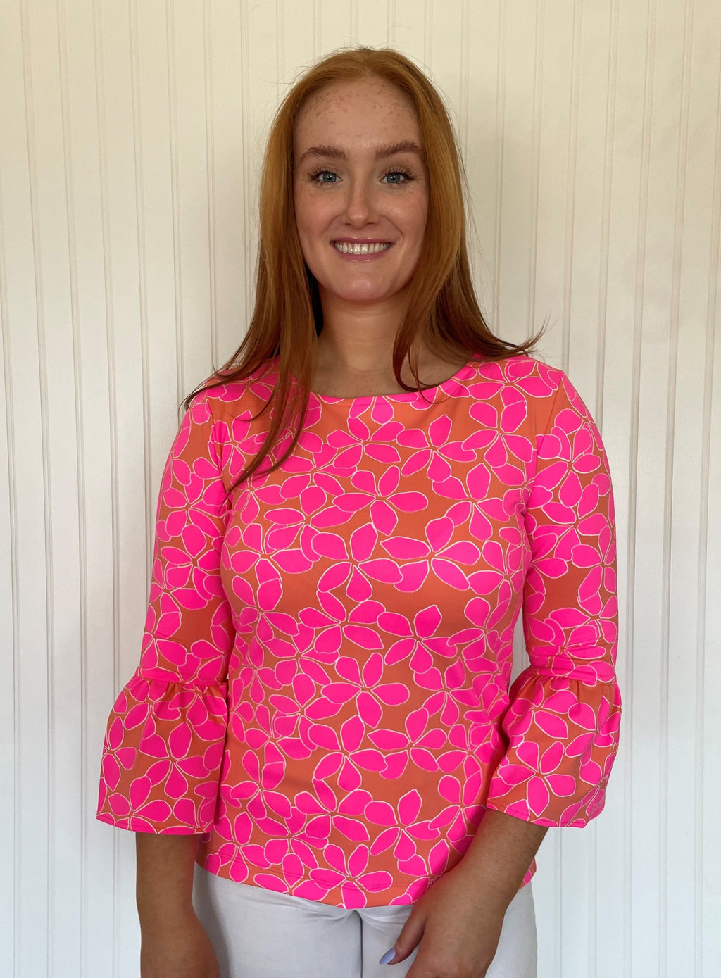 Haley Top -  Resort Hibiscus Coral/Pink - SAMPLE FINAL SALE